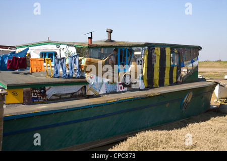 old houseboats at shoreham on the west sussex coast - Stock Photo