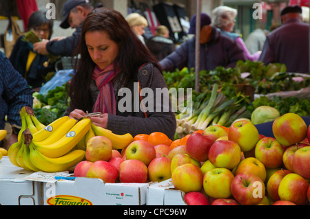 Grocery shopping Dolac the main produce market central Zagreb Croatia Europe - Stock Photo