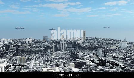 Futuristic Science Fiction Cityscape - Stock Photo