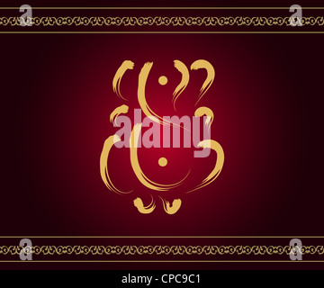 Indian God Ganesha in gold on red background with artistic border - Stock Photo