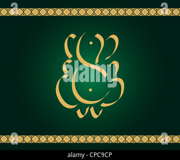 Indian God Ganesha in gold on green background with artistic border - Stock Photo