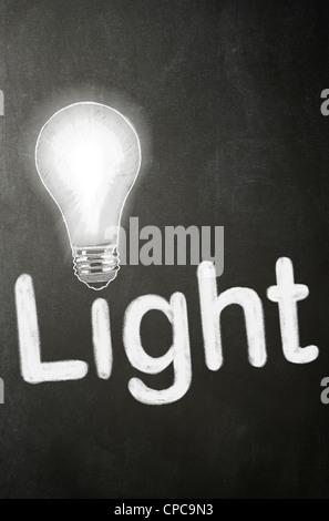 The word Light and a Bulb drawn on a blackboard in white chalk - Concept - Stock Photo