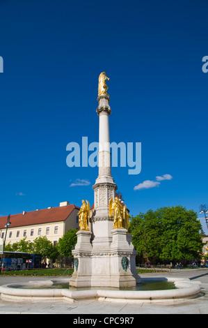 Statue of the Virgin Mary at Kaptol square Kaptol quarter Zagreb Croatia Europe - Stock Photo