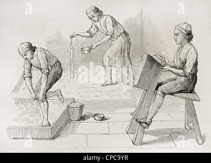 Wool workers old illustration - Stock Photo