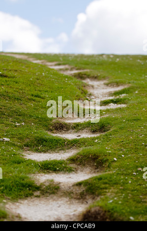 Steep footpath on the South Downs way, Seven Sisters country park, Sussex - Stock Photo