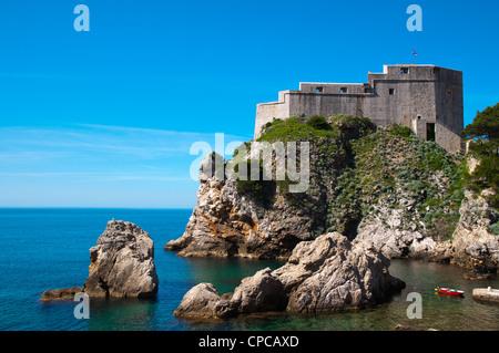 Lovrijenac fortress outside the old town Dubrovnik city Dalmatia Croatia Europe - Stock Photo
