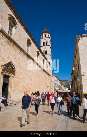 Stradun main street Grad the old town Dubrovnik city Dalmatia Croatia Europe - Stock Photo