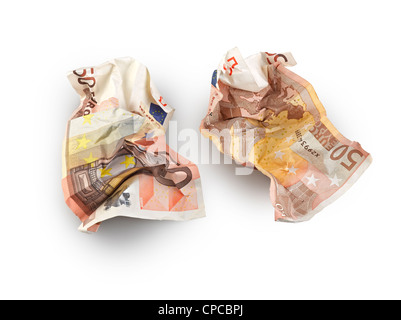 crumpled fifty euros bill isolated, clipping path - Stock Photo
