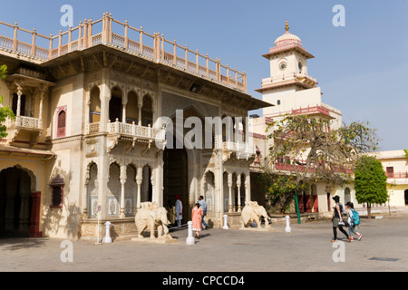 Entrance arch to the Chandra Mahal or Chandra Niwas. The most commanding building in the City Palace complex. - Stock Photo