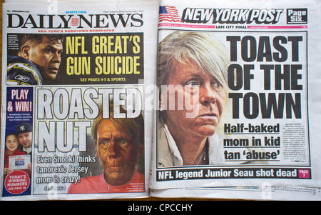 Headlines of New York tabloid newspapers reporting on a well tanned Patricia Krentcil - Stock Photo