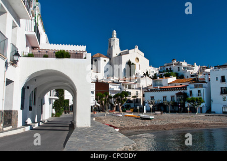 Picturesque view over Port Alguer, Cadaques, Costa Brava, Catalonia (Spain) - Stock Photo