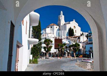 Picturesque view over Port Alguer, Cadaqués, Costa Brava, Catalonia (Spain) - Stock Photo