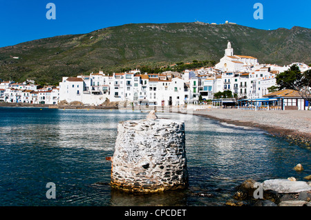 Panoramic view over the picturesque village of Cadaqués, Costa Brava, Catalonia (Spain) - Stock Photo