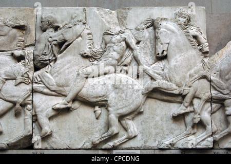 Greek Art. Parthenon. North frieze XLI. Riders. - Stock Photo