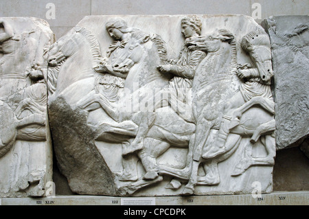 Greek Art. Parthenon. North frieze. XLIV-XLV. Riders. - Stock Photo