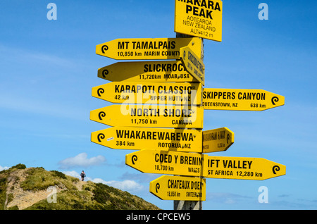 Sign at summit of Makara Peak, Wellington, New Zealand, gives distance to other major mountain bike centres; rider - Stock Photo
