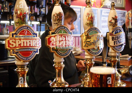 Shepherd Neame real ale handpumps and pump clip designs,  Rochester, Kent, England - Stock Photo