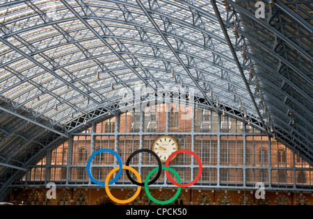 Olympic rings at grade 1 listed St Pancras International station London England Europe - Stock Photo