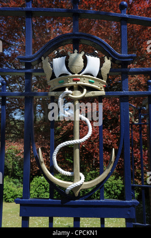 Royal Navy symbol on the gates of Britannia Royal Naval College at Dartmouth UK - Stock Photo