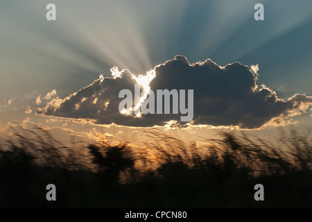 Sun shining through clouds - Stock Photo