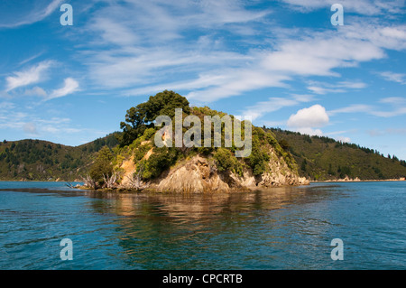 New Zealand South Island, Picton scenic landscape in Marlborough Sounds. - Stock Photo