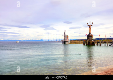 Evening, Harbour, Constance, Baden-Wurttemberg, Germany - Stock Photo