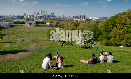 Canary Wharf and Isle of Dogs from Greenwich, London, England, United Kingdom, Europe - Stock Photo