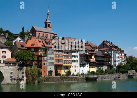 Laufenburg and River Rhine, Black Forest, Baden-Wurttemberg, Germany, Europe - Stock Photo