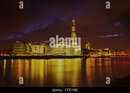 The Shard, City Hall, More London Place, Southwark Crown court and HMS Belfast at night, London, England, United - Stock Photo
