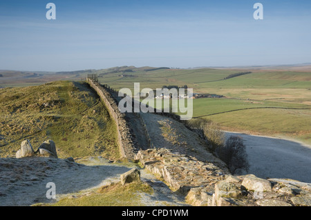 Cawfield Farm from Thorney Doors, Hadrians Wall, Northumbrian National Park, Northumbria, England, UK - Stock Photo
