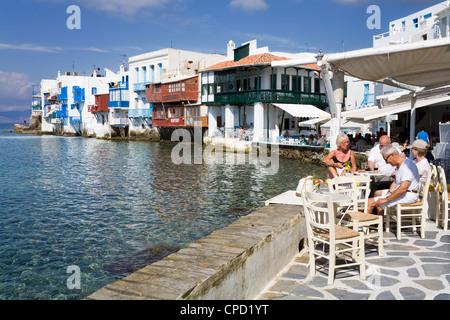 Little Venice in Mykonos Town, Island of Mykonos, Cyclades, Greek Islands, Greece, Europe - Stock Photo