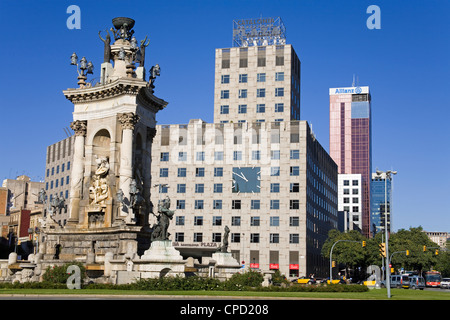 Placa d'Espanya Monument in Montjuic District, Barcelona, Catalonia, Spain, Europe - Stock Photo
