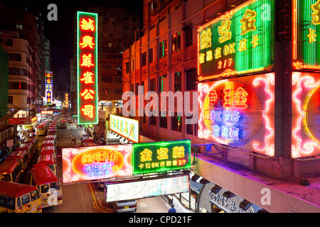 Street scene and Mini bus station, Mong Kok, Kowloon, Hong Kong, China, Asia - Stock Photo
