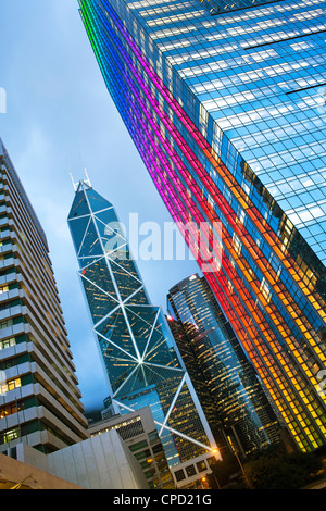 Bank of China building and Hong Kong skyline at dusk, Hong Kong, China - Stock Photo