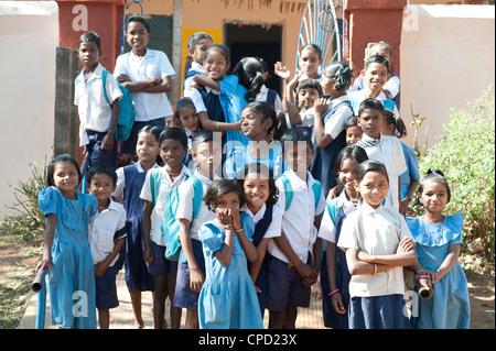 Schoolchildren outside village school, rural Orissa, India, Asia - Stock Photo