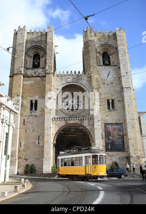 Tram and Se (Cathedral), Alfama, Lisbon, Portugal, Europe - Stock Photo