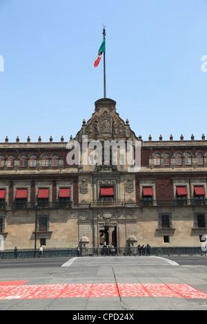 National Palace (Palacio Nacional), Zocalo, Plaza de la Constitucion, Mexico City, Mexico, North America - Stock Photo