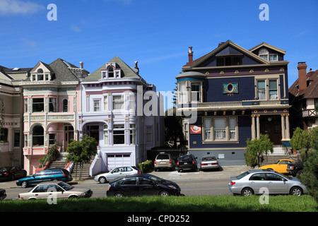 Victorian architecture, Painted Ladies, Alamo Square, San Francisco, California, United States of America, North - Stock Photo