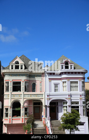 Victorian architecture, Painted Ladies, Alamo Square, San Francisco, California, United States of America, North - Stock Photo