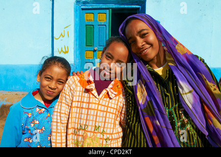 Young Egyptian girls, Ramadi village, Nile Valley between Luxor and Aswan, Egypt, North Africa, Africa - Stock Photo