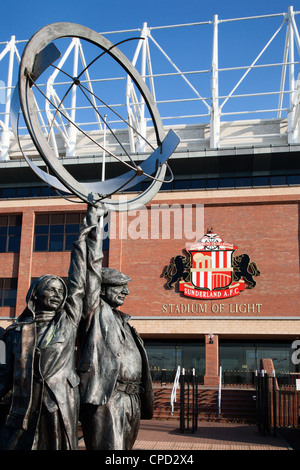 Family Football Supporters sculpture at The Stadium of Light, Sunderland, Tyne and Wear, England, United Kingdom, - Stock Photo