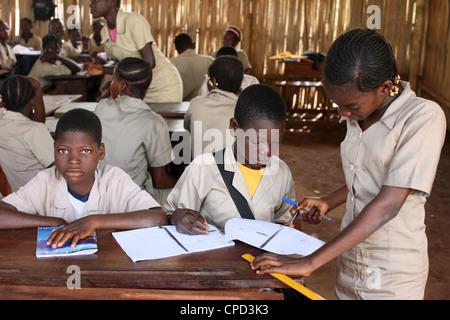 Secondary school in Africa, Hevie, Benin, West Africa, Africa - Stock Photo