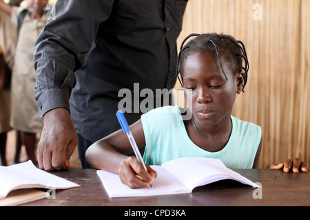 Secondary school in Africa, Hevie, Benin, West Africa, Africa - Stock Photo