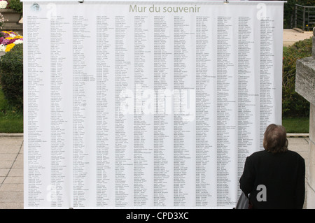 Wall of names in the Pere Lachaise graveyard, Paris, France, Europe - Stock Photo