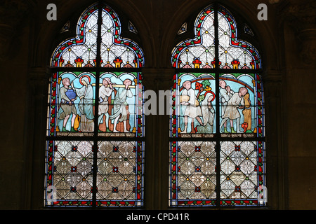 Stained glass depicting Sainte Genevieve's life, cloister of Notre-Dame de Paris cathedral, Paris, France, Europe - Stock Photo