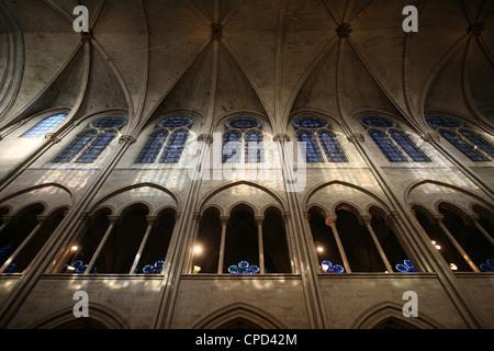 Notre-Dame de Paris cathedral nave, Paris, France, Europe - Stock Photo