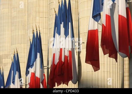 French flags outside the Pantheon, Paris, France, Europe - Stock Photo