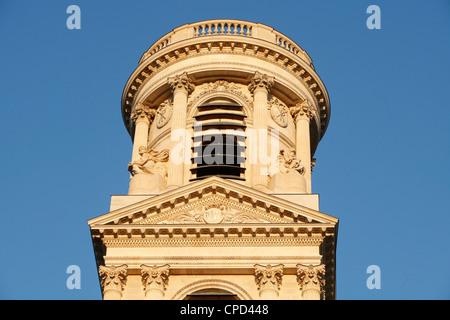 St. Sulpice basilica spire, Paris, France, Europe - Stock Photo