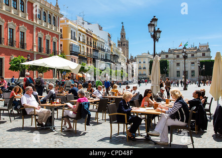 Spain, Andalusia, Seville, Leisure Time in Plaza de San Francisco - Stock Photo
