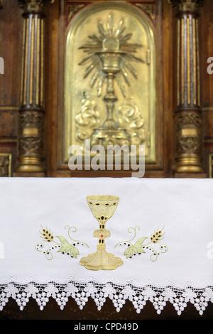 Altar and tabernacle, Sainte-Marie des Batignolles church, Paris, France, Europe - Stock Photo